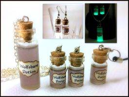 Wolfsbane Potion Necklace, Earrings + Zipper Charm by Euphyley