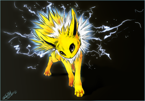 .:Jolteon at Night:. by WhiteSpiritWolf