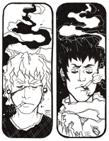 Double sided bookmark for Ckirean by TwistedAsphyxia
