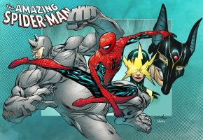 Spidey versus Rhino, Electro and Jackal colored by DanOlvera