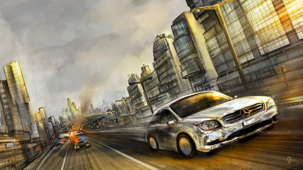 Film Concept-car chase by Odysseusart