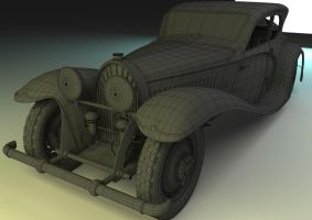 3D Bugatti 50T Wire Render by cytherina