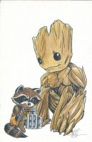 Rocket and Groot by AmberStoneArt