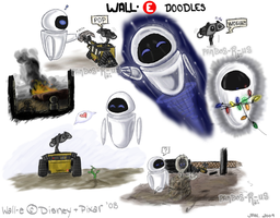 Wall-E and Eve Doodles by Pandas-R-Us
