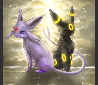 Espeon and Umbreon by FionaHsieh