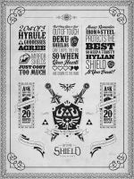 Legend of Zelda Hylian Shield Letterpress Poster by studiomuku