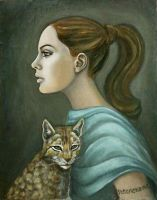 Girl with a cat by PaolaCamberti