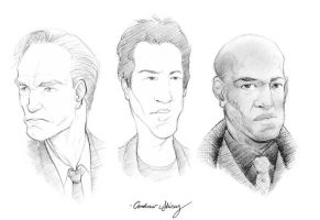 Hugo, Keanu, and Laurence by silentsketcher