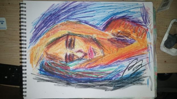 Sleeping woman - Oil Pastels by neveza