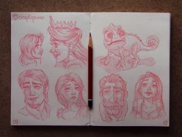 Animation Sketches - Tangled by AngelGanev