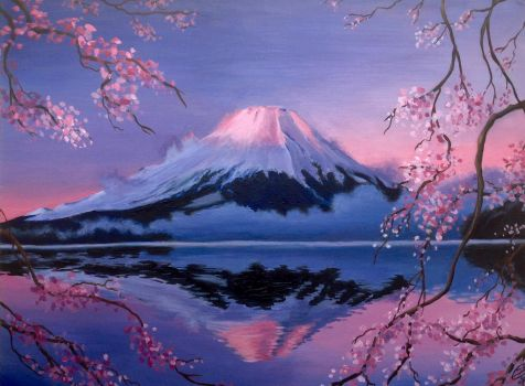 Mount Fuji at dawn by JuliaKvitkovskaya