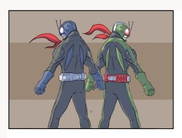Masked Riders 1 and 2 by jdcunard
