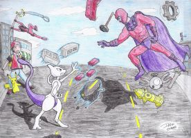 Mewtwo Vs. Magneto by TheAxeWarrior