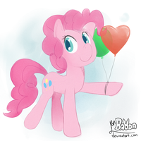 Pinkie pie offers a balloon by PonBalloon