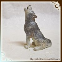 Tiny Howling Wolf Sculpture Close Up by lily-inabottle