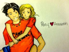 Percy and Annabeth by x-riceball-x