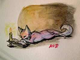 Candle light reading by Warriocat12