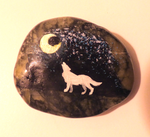 Howling Wolf Painted Stone by Wolf-Goddess13