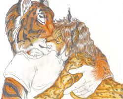 Tiggie and Sketchkat kiss by SketchKat