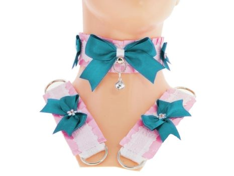 turquoise white satin kitten play collar and cuffs by Eusebie