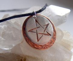 Pentacle Necklace with Copper by MoonLitCreations