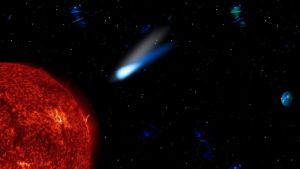 Space scene - A Sun diving comet by Voyager168