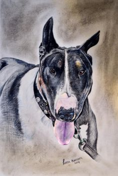 Dog with pastel and his as by Lmk-Arts