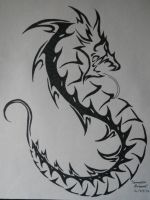 Curled Dragon Tribal by ArchangelVampire
