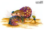 Rainbow Pangolin by JadeDragonne