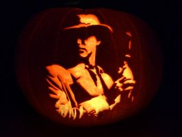 Tex Murphy Pumpkin by ceemdee