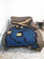 Tunisian Entrelac Black Mage Blanket by Kessukoofah