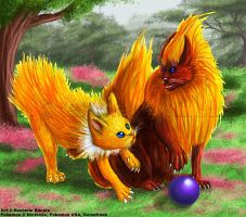Jolteon and Flareon by TheDragonofDoom