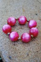 Vintage Acrylic Bead Bracelet ( Pink and Chrome) by thumbelyna