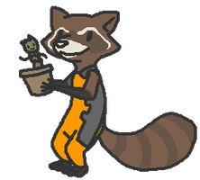 Rocket Raccoon and little Groot by EveningClouds