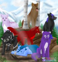 my Wolfpack by cutetoboewolf