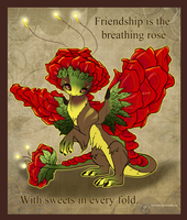 Rose Dragon Valentine by jeweledphoenix