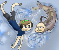PewdiePie SeaMan Fan Art by betlysquirrely