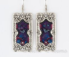 By the Lake at Night Victorian Goth Bat earrings by DeidreDreams
