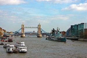 Tower Bridge and HMS Belfast by irwingcommand