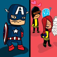 Captain America and the X-Men by bobpatrick7