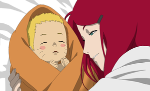 RTN version Kushina and Naruto - Lineart Colored by DennisStelly