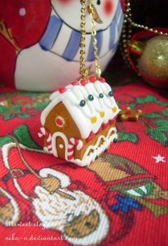 Gingerbread House necklace by Nika-N