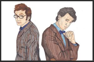 David Tennant + Matt Smith by CaptainKPeanuts