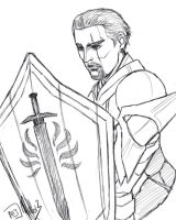 Cullen with shield (sketch) by MellorianJ