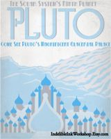 Retro Sci-fi Pluto Travel Poster by IndelibleInkWorkshop