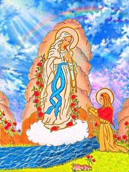 Our Lady Of Lourdes and Saint Bernadette  by MademoiselleMargaret