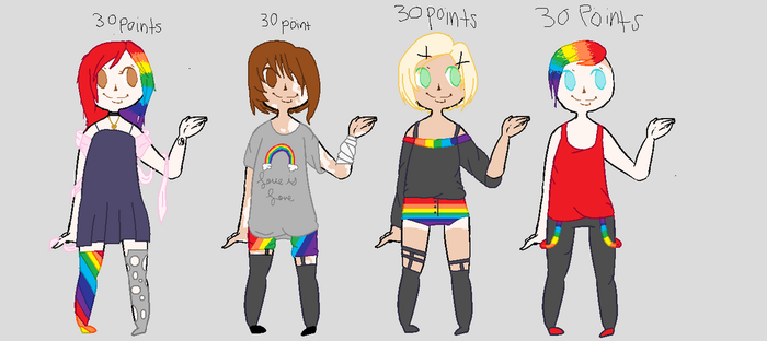 Rainbow Adoptables by meis10