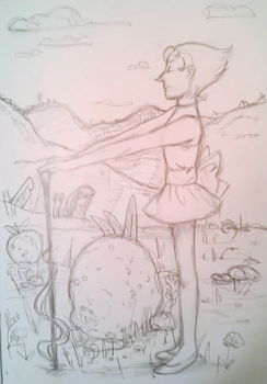 Pearl at the Strawberry Battlefield - Rough Sketch by mokurenawakened