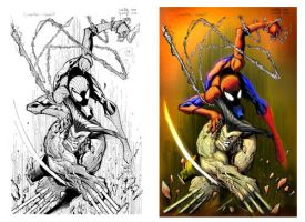 Spiderman vs Wolverine by MOtero