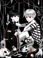 Wednesday and Pugsley Addams by alexielart